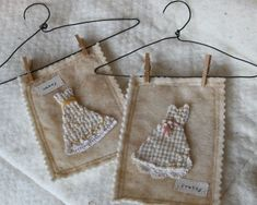 recycled chenille bath mat?  {on tea dyed felt, in pic see homemade wire hanger...  ♥}