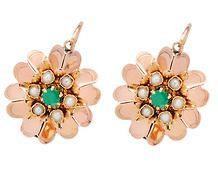 Blushing Flowers: Edwardian Emerald Earrings