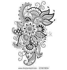 Similar Images, Stock Photos & Vectors of Mehndi flower pattern for Henna drawing and tattoo. Decoration in ethnic oriental, Indian style. Mandala Tattoo Design, Flower Tattoo Designs, Mehndi Designs, Flower Tattoos, Estilo Mehndi, Doodle Patterns, Henna Patterns, Zentangle Patterns, Flower Patterns