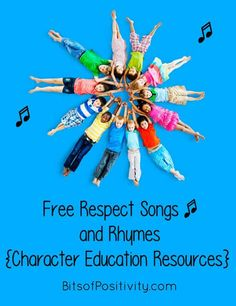 Lots of free respect songs and resources for one of the 3 Olympic core values. Fun, free respect songs and character education resources to teach about and encourage respect - Bits of Positivity Respect Activities, Anti Bullying Activities, Teaching Kids Respect, Ocean Activities, Respect Lessons, Guidance Lessons, Kindergarten Songs, Preschool Songs, Songs