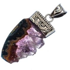 "Amethyst Stalactites 925 Sterling Silver Pendant 2"" PD481108"