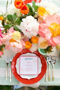 Bright and fun table: http://www.stylemepretty.com/living/2014/09/05/pink-and-mint-backyard-bash/ | Photography: Charla Storey - http://www.charlastorey.com/