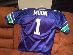 Rare VTG 1996 NFL Seattle Seahawks Warren Moon 1 Jersey Mens 46 to 48 L   LogoAthetic  SeattleSeahawks e023c729c