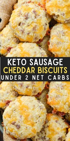 These Keto Sausage Cheddar Biscuits are loaded with flavor and have less than two net carbs each. Pair with scrambled eggs and enjoy the perfect keto breakfast! Best Breakfast Recipes, Savory Breakfast, Breakfast Bake, Brunch Recipes, Appetizer Recipes, Snack Recipes, Breakfast Ideas, Bread Recipes, Dinner Recipes