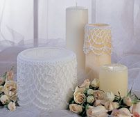 Candle Drapes Skill Level: Intermediate Delicate beaded crochet adds lacy elegance to everyday pillar candles. Thread Crochet, Crochet Doilies, Beaded Crochet, Diy Candles, Pillar Candles, Lace Candles, Crafts For Kids, Diy Crafts, World Crafts