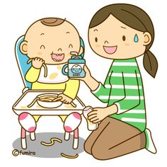 離乳食を食べる赤ちゃんのイラスト(ソフト)