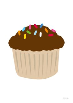 New Classic Chocolate Sprinkles Cupcake Art Print from Showler and Showler.