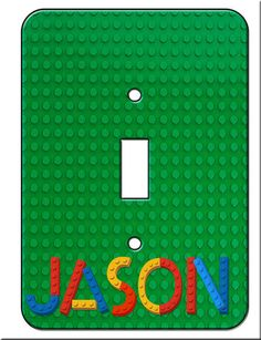 Lego Bricks Single Toggle Switchplate by Recycled Decor eclectic kids decor