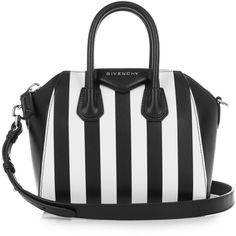 Givenchy Antigona striped mini leather cross-body bag ($1,698) ❤ liked on Polyvore featuring bags, handbags, shoulder bags, accessories, carteras, purses, leather crossbody, white leather purse, purse crossbody and leather purse