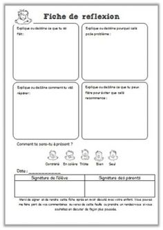 Verhaltensmanagement: Reflexionsbogen Source by School Organisation, Classroom Organization, Classroom Management, Kids Education, Special Education, Cycle 3, French Classroom, Behaviour Chart, Classroom Community