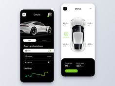 Vehicle Status Control App designed by Stan Kirilov ❖ for StanVision. Connect with them on Dribbble; Ux Design, Black App, Car App, Mobile Ui Design, Screen Design, User Interface Design, Mobile App, Vehicles, Parking App