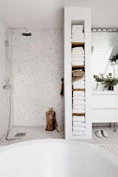 For the past year the bathroom design ideas were dominated by All-white bathroom, black and white retro tiles and seamless shower room Bathroom Renos, Bathroom Interior, Bathroom Ideas, Bathroom Storage, Shower Ideas, Wall Storage, Storage Ideas, Creative Storage, Bathroom Remodeling