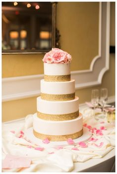 Pink and Gold Wedding cake by Cindy's Cakery // Two Rivers Country Club Wedding | Elizabeth Friske Photography | Tiffany & Mike_0078