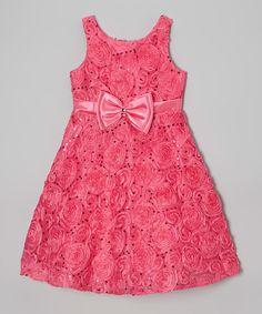 Fuchsia Sequin Rosette Bow A-Line Dress - Girls | zulily