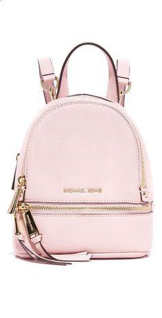 >>>Michael Kors OFF! >>>Visit>> Rhea mini backpack by MICHAEL Michael Kors. A petite MICHAEL Michael Kors convertible backpack in pebbled leather. Wraparound top zip and li. Mk Handbags, Handbags Michael Kors, Michael Kors Bag, Michael Kors Mini Backpack, Cheap Handbags, Designer Handbags, Mochila Kpop, Fashion Bags, Fashion Backpack
