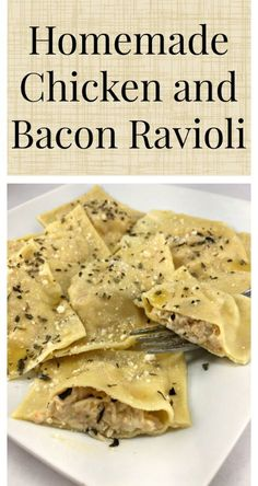 Homemade ravioli with a creamy chicken and bacon filling - Food - Tortellini Homemade Ravioli Filling, Homemade Pasta, Homemade Breads, Pasta Recipes, Dinner Recipes, Cooking Recipes, Chicken Ravioli, Chicken Bacon, Chicken Treats