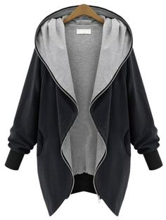 Fall Coat SHEIN Personal Design :Black Hooded Long Sleeve Pockets Loose Coat ,Versatile and super quality with pretty price!