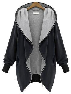 Black Hooded Long Sleeve Pockets Loose Coat - Fashion Clothing, Latest Street Fashion At Abaday.com