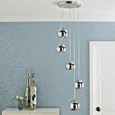 Cascade Brushed Chrome effect 5 Lamp Ceiling light - B&Q for all your home and garden supplies and advice on all the latest DIY trends Hall Lighting, Interior Lighting, Kitchen Lighting, Bedroom Ceiling, Cool Designs, Ceiling Lights, Interior Design, Outdoor Decor