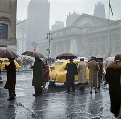 Forty-second Street and Fifth Avenue on a rainy day, New York, March 1943
