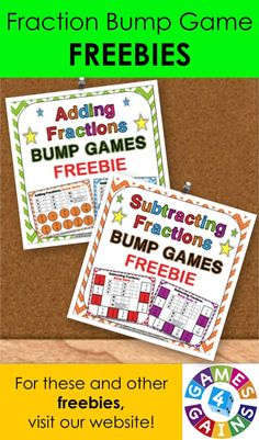 Need some extra adding and subtracting fractions practice for your classroom?  Visit games4gains.com to download our fraction bump game freebies!