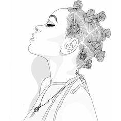 Wallpaper for android and iphone Black Girl Art, Black Women Art, Black Art, Art Girl, Tumblr Drawings, Tumblr Art, Art Drawings Sketches, Girl Outlines, Tumblr Outline