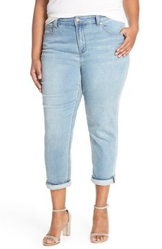 Melissa McCarthy Seven7 Stretch High Rise Crop Girlfriend Jeans (Darling) (Plus Size)