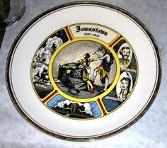 Jamestown Virginia 1607 - 1957 Collectible Plate Pocahontas John Smith Vintage To buy click on pic! Thanks!