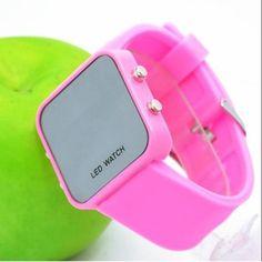 79b442fc4b8 Faceless Mirror Watch Men Lady Sport Digital Date Wrist Watch LED Silicone