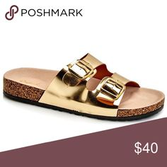 Qupid Gold 'Birkenstock Style' Sandals Qupid Gold 'Birkenstock Style' Sandals. Cute summer sandals without the high price tag. Don't see your size?? Comment to be placed on my wish list!! These do not come in half sizes, so I suggest sizing up if you are in between. See other listings for more available colors 🙂 Qupid Shoes Sandals