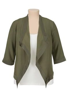 flowy olive plus size blazer (original price, $44) available at #Maurices