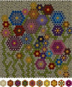 Quilt ideas.  How is this for fantastic.     Not my Grandmother's Flower Garden Quilt - EQ6 from: http://ajpadilla.com/eq-corner/virtual-gallery/not-my-grandmothers-flower-garden