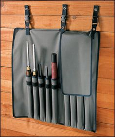 Lee Valley -Turning Tool Roll  The mounting clips for easy access are a nice touch
