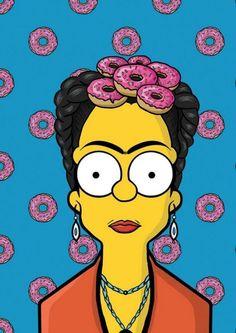 frida kahlo, the simpsons Simpsons Drawings, Simpsons Art, Simpsons Tattoo, Cultura Pop, Frida And Diego, Frida Art, Homer Simpson, Arts Ed, Caricatures