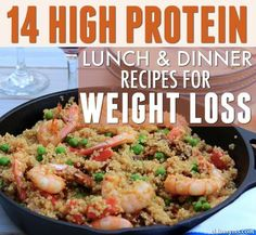 14 High-Protein Lunch and Dinner Recipes for Weight Loss High protein recipes are great! Protein curbs my cravings so I eat less throughout the day :) High Protein Recipes, Healthy Recipes, Healthy Cooking, Diet Recipes, Healthy Eating, Cooking Recipes, Protein Foods, Recipes Dinner, Healthy Food