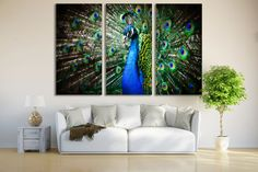 Peacock Print Wall Art / Peacock Art Print Decor Bird by ZellartCo
