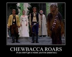 CHEWBACCA ROARS.  (If you didn't get a medal, you'd be pissed, too.)