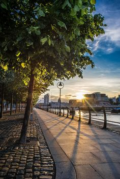Sunset on the quays, Dublin, Ireland