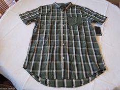 Men's Hurley shirt button up large L surf skate NEW plaid COM green MVS0001560
