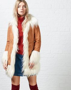 #ARKLOVES statement suede look fur trim 70's coats to make a statement this season - Glamorous Angie Faux Fur Trim Coat
