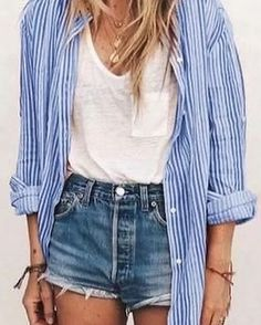 2020 Women Jeans Red Cargo Pants Revtown Jeans Ripped Jeans For Girls - Summer Outfits Looks Con Shorts, Girls Ripped Jeans, Ripped Women, Inspiration Mode, Loose Shirts, Cute Summer Outfits, Cute Summer Shirts, Casual Summer, Looks Style