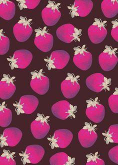 Strawberries and Chocolate Pattern Art Print