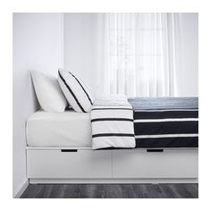 Buy IKEA NORDLI Bed frame with storage white. NORDLI bed frame is more than a comfortable bed. It's also a storage unit with 6 spacious drawers. Cama Ikea, Bed Frame With Drawers, Bed Frame With Storage, Large Drawers, Queen Beds With Storage, Bed With Drawers Underneath, Nordli Ikea, Camas King, Ikea Drawers