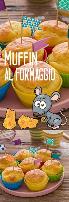 Muffin al formaggino Pancake Muffins, Pancakes, American Cake, Antipasto, Crepes, Cake Cookies, Street Food, Biscotti, Finger Foods
