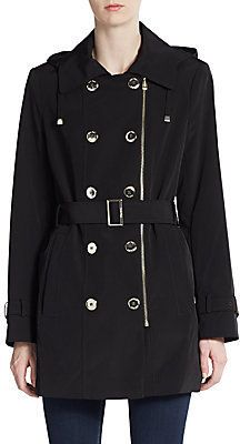 $89, Calvin Klein Double Breasted Hooded Raincoat. Sold by Off 5th. Click for more info: https://lookastic.com/women/shop_items/307079/redirect
