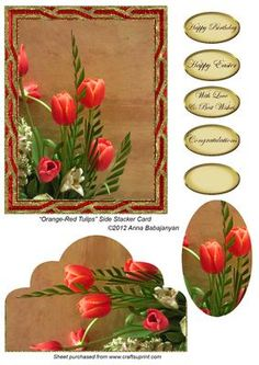 "Beautiful card/ topper which I have designed with my new image of beautiful orange-red tulips ( photo by me ) and my ""Twisted"" frame on background.Side stacker layer and oval pyramid layer are included on the sheet. You will need to attach them with thin sticky foam pads for a beautiful 3D effect. I have also included ready ""Happy Birthday"", ""Happy Easter"", ""With Love & Best Wishes"" and ""Congratulations"" greetings as well as another b..."