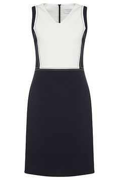 This sheath dress from BOSS catches the eye with its 2-tone design. Clean contours and distinctive visible seams underscore its traditional character, and the V-neck and the waisted fit emphasise the feminine silhouette. Made in a stretch fabric with viscose and cotton percentages, this women's dress promises exceptional comfort. Just made for exclusive business looks.
