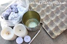 DIY fire starters ~~ egg carton, dryer lint and old candle wax