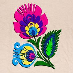Koszulka folk DAMSKA - kwiat łowicki - beżowa