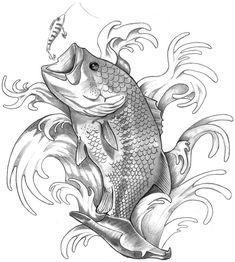 bass fish jumping tattoo...want something similar to this